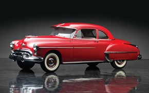 Picture red, coupe, 1950, Oldsmobile, old car, Futuramic