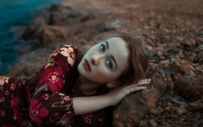 Picture look, girl, portrait, makeup, dress, hairstyle, lies, brown hair, beautiful, on the shore, on the …