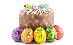 Wallpaper Easter, Eggs, Food, Cake, Holidays, White Background