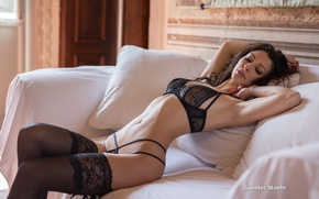 Wallpaper girl, pillow, underwear, in black, Guenter Stoehr