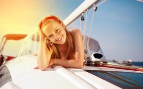 Wallpaper girl, smile, mood, yacht