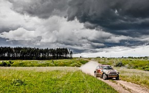 Picture The sky, Nature, Mini, Sport, Speed, Clouds, Race, Dirt, The view from the top, Rally, ...