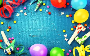Wallpaper decoration, balloons, candy, sweets, Happy Birthday, decoration, Birthday, holiday celebration