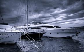 Picture sea, yachts, monochrome, harbour, Croatia, Croatia, The Adriatic sea, Adriatic Sea, Rogoznica, Rogoznica