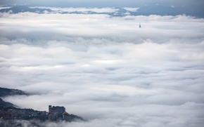 Picture nature, the city, fog