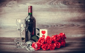 Picture gift, wine, glasses, red, love, romantic, hearts, valentine's day, gift, roses, red roses