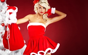 Wallpaper gifts, holiday, tree, toys, hairstyle, in red, bag, maiden, gloves, dress, background, blonde, Christmas, red, ...