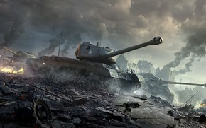 Wallpaper World of Tanks, M46 Patton, WoT, Tiger II, World Of Tanks, Wargaming Net