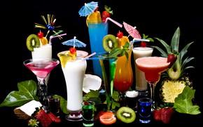 Picture coconut, kiwi, milk, strawberry, cocktails