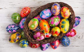 Picture eggs, spring, Happy, the painted eggs, busket, Easter, Easter, wood, colorful, decoration, basket, spring