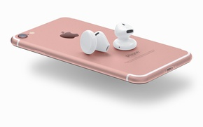 Wallpaper logo, smartphone, iPhone, technology, headset, pink, iPhone 7, smartphones, airpods, headset wireless, high tech, cell ...