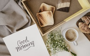 Picture flowers, coffee, chocolate, Breakfast, flowers, cup, romantic, chocolate, coffee, good morning, toast, croissants, breakfast, growing