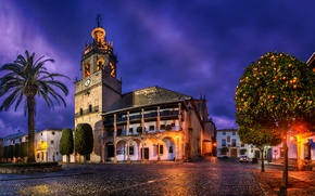 Picture trees, lights, Palma, home, the evening, area, lights, Church, Spain, street, Andalusia, Ronda