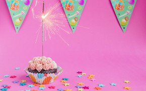 Picture birthday, holiday, flags, cream, cakes, flags, cupcake, cupcake, holiday, birthday, cream, pastry