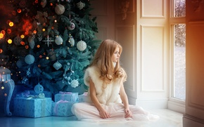 Picture winter, room, holiday, new year, Christmas, window, girl, gifts, tree, box