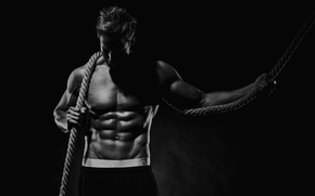 Picture pose, black & white, rope, the cable, muscle, muscle, black and white, press, workout, workout, …