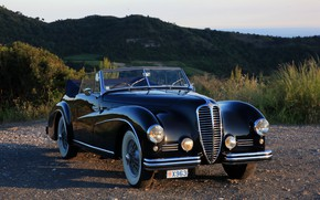 Picture sunset, nature, retro, black, 1950, Cabriolet, Delahaye, Delahaye 135 M Atlas