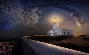 Picture night, lighthouse, stars, Spain, Spain, Balearic Islands, Balearic islands, Menorca, Menorca, The Cap De Cavalry, …