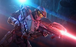 Wallpaper weapons, laser, helmet, Master Chief, Spartan Laser, armor, shooter, fiction, Halo
