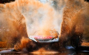 Wallpaper Water, Auto, Sport, Machine, Speed, Dirt, Puddle, Peugeot, Squirt, Lights, Red Bull, Rally, Dakar, Dakar, ...
