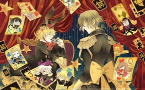 Picture emotions, chair, hat, costume, guys, curtain, bow, Pandora Hearts, Pandora Hearts, chibiki, playing cards, epaulettes, …
