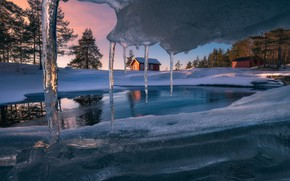 Wallpaper Ice Cave, ice, snow, house, icicles