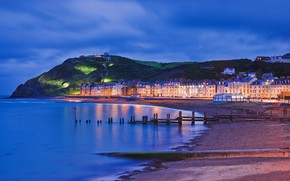 Wallpaper promenade, Wales, night, sea, lights, Aberystwyth, shore, home, mountain