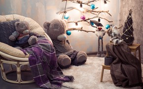 Picture decoration, tree, New Year, Christmas, bear, gifts, happy, Christmas, New Year, Merry Christmas, gift, teddy …
