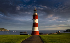 Picture road, sea, lighthouse, England, Plymouth