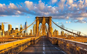 Picture clouds, home, New York, support, USA, Brooklyn bridge