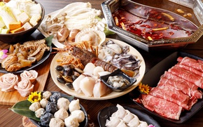Picture mushrooms, meat, seafood, meals, cuts, shellfish