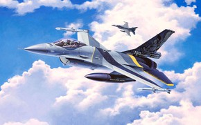 Picture F-16, Fighting Falcon, General Dynamics, light fighter of the fourth generation, Attacking Falcon, American multifunction