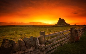 Picture rock, the fence, England, mountain, gate, glow, Holy island, Lindisfarne