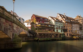 Wallpaper Alsace, river, building, Petite France, The Petite France Quarter, Strasbourg, River Ill, River Il, Alsace, ...