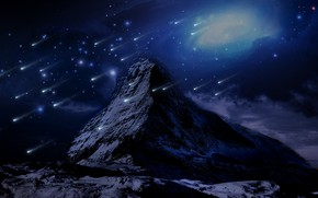 Picture snow, mountains, retouching, shooting stars, fiction