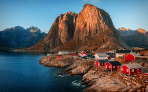 Wallpaper rocks, the fjord, Norway, mountains, the sky, settlement