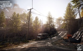 Picture road, trees, mountains, the fence, car, Homefront, The Revolution DLC3