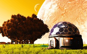 Picture trees, planet, R2-d2 Dome House