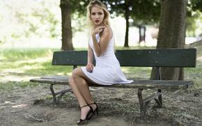 Picture summer, look, bench, model, dress, Asha