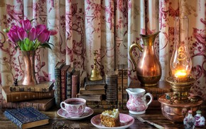 Picture flowers, style, tea, books, lamp, glasses, the tea party, tulips, pitcher, cake