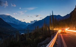 Wallpaper forest, rocks, Hunza, river, the evening, Pakistan, lights, car, trees, road, mountains, canyon, headlights