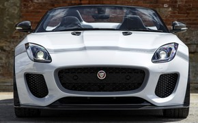 Picture white, wall, Jaguar, bricks, grille, bumper, the front, V8, 575 HP, 5.0 L., F-Type Project …