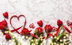 Picture love, flowers, bouquet, hearts, tulips, red, love, heart, wood, flowers, romantic, tulips, Valentine's Day, gift