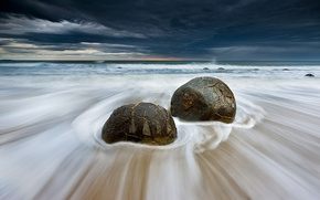Picture sea, wave, beach, the sky, clouds, stones, excerpt