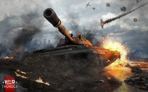 Picture the explosion, tank, the battle, War Thunder, T-10