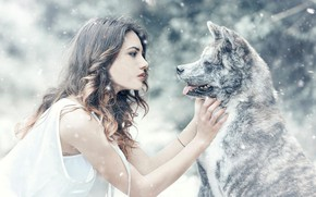 Wallpaper dog, snow, Alessandro Di Cicco, girl, mood, friendship, friends, Arianna Storace
