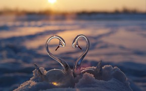 Wallpaper winter, glass, the sun, snow, sunset, reflection, river, loyalty, fantasy, romance, shore, heart, meeting, beauty, ...