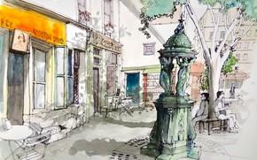 Picture the city, figure, Paris, watercolor, fountain Wallace