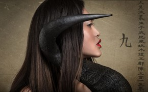 Picture makeup, characters, profile, horn, Horn, Oriental girl, Joachim Bergauer