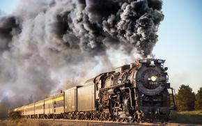Picture smoke, the engine, railroad